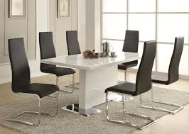 modern dining room table and chairs regular height casual dining black and white seven piece dining