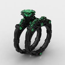emerald engagement ring masters caravaggio 14k black gold 1 25 ct princess emerald