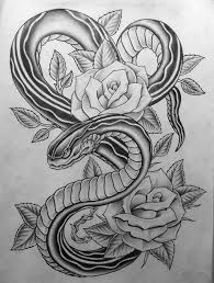 black and grey snake with roses design