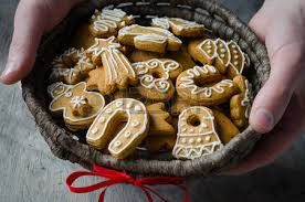 christmas cookies in a wicker basket stock photo picture and