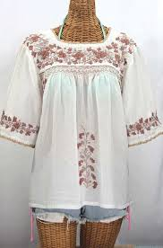 peasant blouse la marina embroidered peasant blouse white cocoa tone