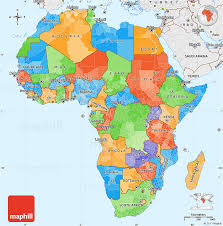 map with labels political simple map of africa single color outside borders and