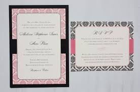 wedding program sles pink black damask bordered wedding invitations seating chart
