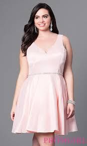 fit and flare plus size satin party dress promgirl