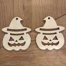 10 wooden laser cut pumpkin face decoration shape tags craft