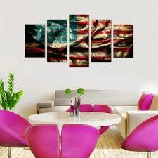 Retro Living Room Art 2017 5 Panels Retro American Flag Canvas Painting Wall Art Flag