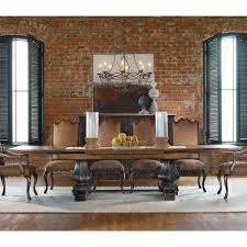 rochester 72u201d brown maple trestle dining table room scene