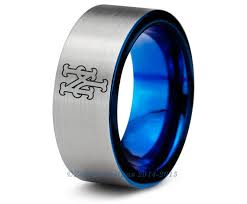 new york wedding band new york mets blue tungsten wedding band ring mens womens polished