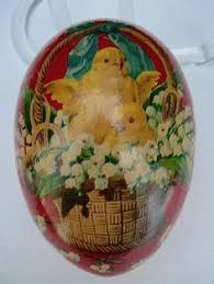 easter egg paper mache large antique paper mache easter egg candy container