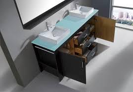 60 inch modern double sink bathroom vanity grey finish glass top