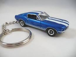 ford mustang gt white stripes 1967 ford mustang gt keychain bright blue white stripes 67