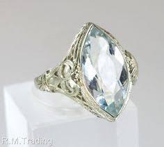 vintage aquamarine diamond ring estate art deco antique wedding