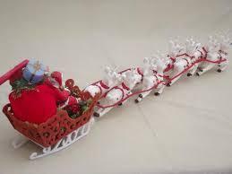 plastic Santa and 8 reindeer sleigh Christmas tabletop decoration