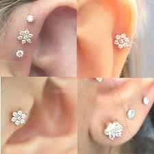 earring helix gold flower cartilage tragus helix stud 16g push in