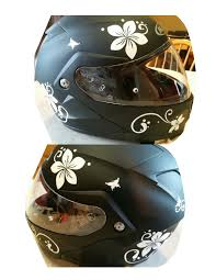 ladies motorcycle helmet plumeria flower with swirls and dots sticker car stickers