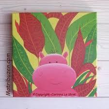 tableau deco chambre fille tableau déco enfant bébé savane jungle hippopotame décoration