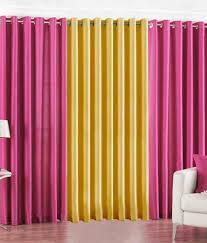 handloom hub pink u0026 golden plain polyester window curtain set of