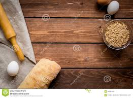 Wooden Table Top View Baking Bread Ingredients On Wooden Table Background Top View