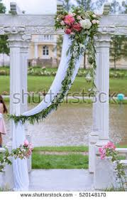 wedding arch lace beautiful wedding arch marriage decorated lace stock photo