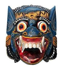wall masks wooden monkey mask of barong blue color carved in bali