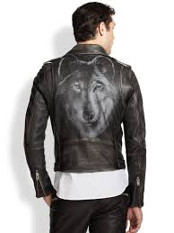 real leather motorcycle jackets diesel seddik wolf printedback leather motorcycle jacket in black