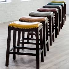 modern kitchen stool furniture leather backless bar stools with laminate wood floor