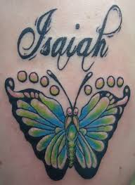 butterfly footprints design with simple grey ink isaiah name