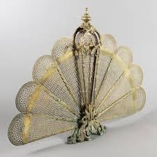 brass fan shaped fireplace screen late 19th century expertissim
