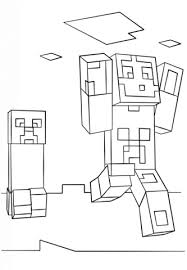 minecraft steve and creeper coloring page free printable