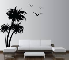 modern design living room with palm coconut tree wall decal and