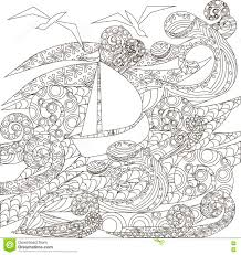 ship in storm in the ocean coloring page vector stock vector