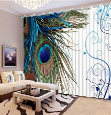 Peacock Curtains Photo Customize Size Bedroom Blackout Curtains Peacock 3d Curtain
