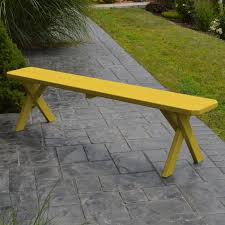 Yellow Table L A L Furniture Yellow Pine Cross Legged Picnic Table With 2