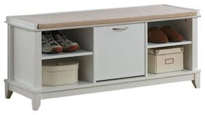 swiss modern wooden shoe storage seating bench with taupe fabric