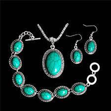 silver necklace bracelet set images Turquoise jewelry ebay jpg