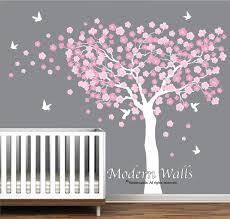 cherry blossom tree with birds nursery wall decals blowing