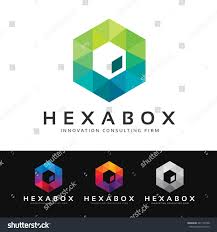 logo stylized colorful hexagonal shape built stock vector