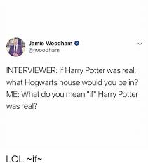 Harry Potter House Meme - jamie woodham interviewer if harry potter was real what hogwarts