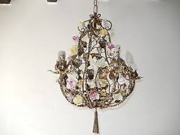 porcelain chandelier roses c 1930 tole porcelain roses winged cherub chandelier
