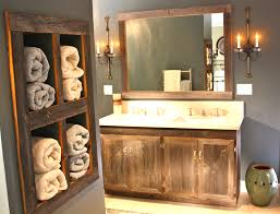 surrounded by natural stone tiles wall rustic bathroom vanities