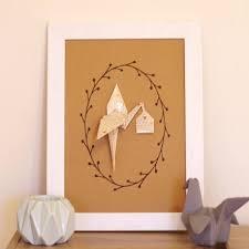 origami chambre bébé cigogne origami kraft décoration murale chambre fille