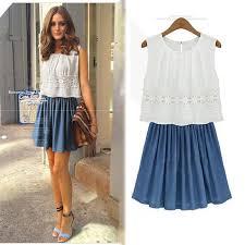 2014 new fashion women cotton lace dresses patchwork sleeveless