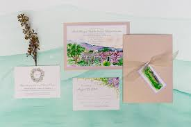 painted landscape wedding invitations momental designsmomental designs