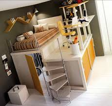 suitable queen size loft bed frame with nice design for dormitory
