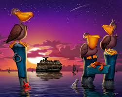 set of 2 pelican posters pelicans on posts seascape art