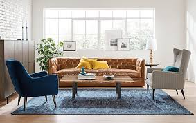 Leather Sofa In Living Room Macalester Leather Sofa Living Room Modern Living Room Furniture