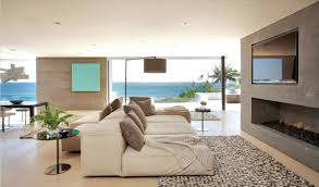 contemporary fireplace sofa rug beach house in laguna beach