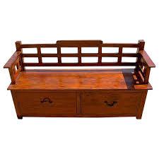 rustic mission mango wood cushioned storage bench w bottom rack