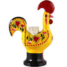 hand painted traditional portuguese aluminum toothpick holder good