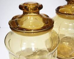 amber glass canister etsy